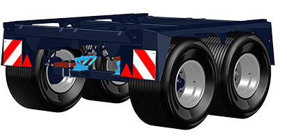 Tandem axle 2.3 m wide (high loading capacity)